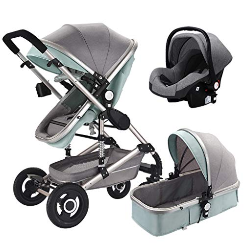 3 in 1 Travel System with Infant Car Seat,Stroller and Pushchair,Lightweight Folding Buggy up to 25 kg with Lying Position, Cup Holder