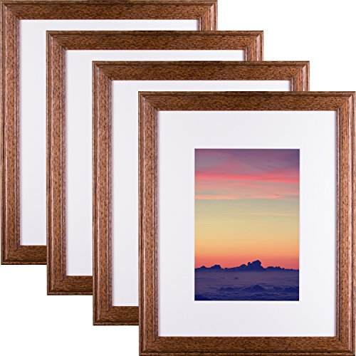 Craig Frames Wiltshire 236 Hardwood Picture Frame with Single White, Displays a 9 x 13 Inch Print with the Mat or 13 x 19 Inch without the Mat, Brown, Set of 4 -