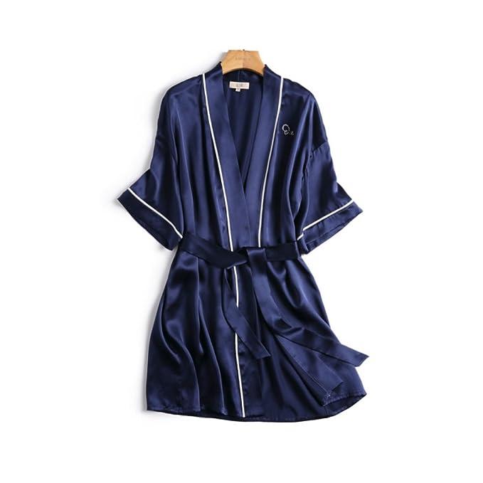 Ropa De Dormir 100% Seda De Las Mujeres Contraste Simple Color One Piece Más Tamaño Pijamas Batas De Baño Sexy Camisón: Amazon.es: Ropa y accesorios