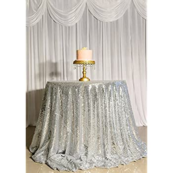 ShinyBeauty Sequin Tablecloth Silver 60Inch Round Sequin Table Cover,Sparkly  Sequin Table Cloth