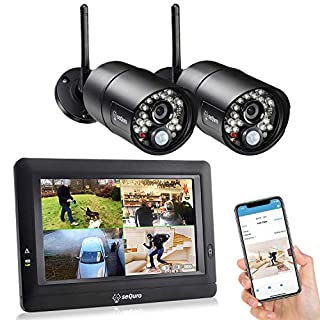 """Sequro GuardPro DIY Long Range Wireless Video Surveillance System with 7"""" Touchscreen 2 Outdoor/Indoor Night Vision IP66 Weatherproof Security HD Cameras Home Network DVR Kits"""
