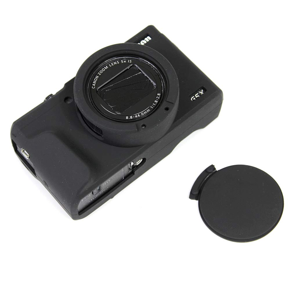 Negro Cuerpo Completo Caucho de TPU Funda Estuche Silicona para c/ámara para Canon PowerShot G5X Mark II