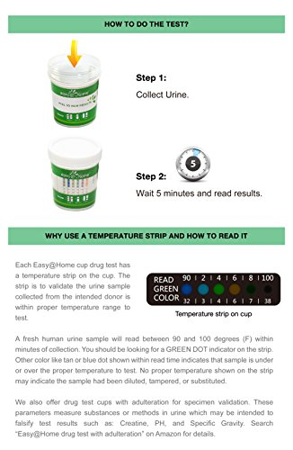 5, 10, 15, 25, 50 and 100 Pack #ECDOA-254 Easy@Home Drug Test Cup for 5 popular drug tests Marijuana (THC),Amphetamine (AMP),Cocaine (COC), Methamphetamine (MET), Opiate (OPI 2000) - 5 Pack by Easy@Home (Image #5)