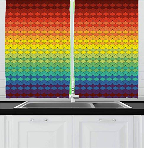 LQQBSTORAGE Fiesta Kitchen Curtains,Colorful Scale Pattern Snake and Dragon Skin Abstract Composition Rainbow Inspired 100% Blackout Window Curtain Panels 2 Panel Set W55 x L63/Pair Multicolor