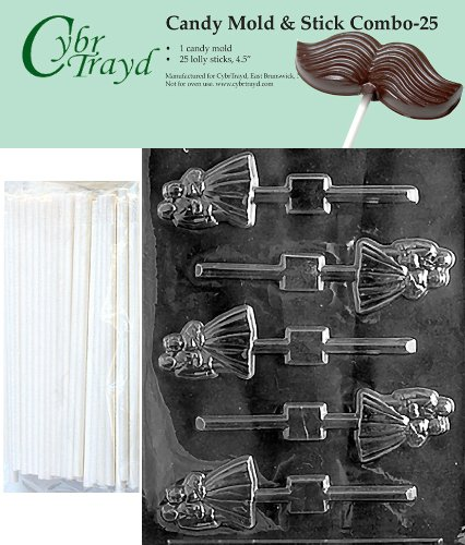 Bride And Groom Candy Molds - Cybrtrayd 45St25-W024 Bride & Groom Lolly Chocolate Candy Mold with 25 Cybrtrayd 4.5