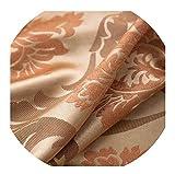 momolove Fabric Elegant Luxury Blackout Curtains for Living Room Pink Blinds Jacquard Drapes Damask European Window Treatments Panels,Orange,W250cmXL270cm,Pencil Pleat