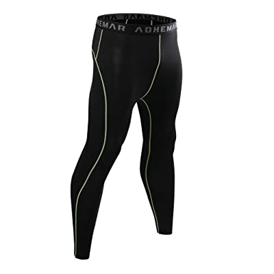 ADHEMAR Men's Running Leggings Fitness Workout Compression Pants Base Layer Tights Cool Dry Pants