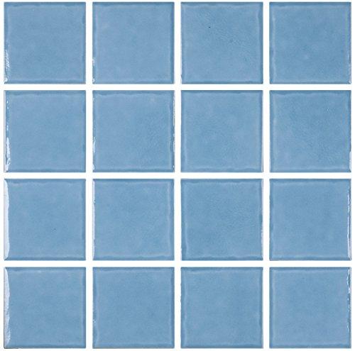 Marina Pool 3 x 3 Glossy Ceramic Mosaic Square Backsplash Tile - Light Blue (Ceramic Glossy)