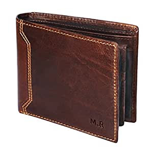 M.R Mens Wallet RFID Protection Genuine Leather Bifold Wallets for Men with Coin Pocket Gift Box (Brown)