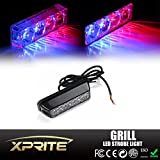 Xprite 4-LED 4-Watt Emergency Vehicle Waterproof Surface Mount Deck Dash Grille Strobe Light Warning Police Light Head with Clear Lens (Red/Blue)