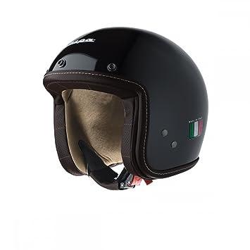 Vespa P-Xential - Casco para moto (nero lucido), color negro brillante