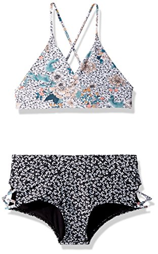 O'NEILL Big Girls' Jamison Print Mix Top Bikini Set, White, 8