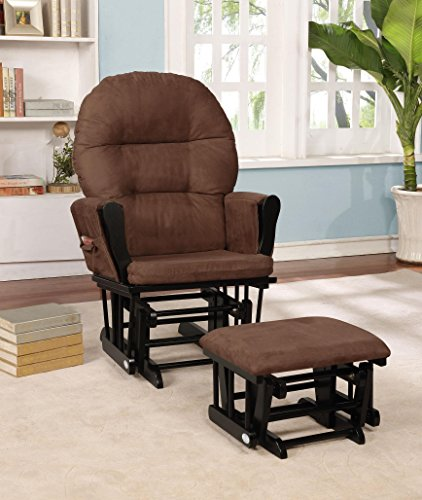 Brown Upholstered Rocker (Naomi Home Brisbane Glider & Ottoman Set Black/Chocolate)