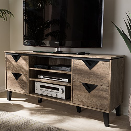 - 55 in. TV Stand in Light Brown Finish