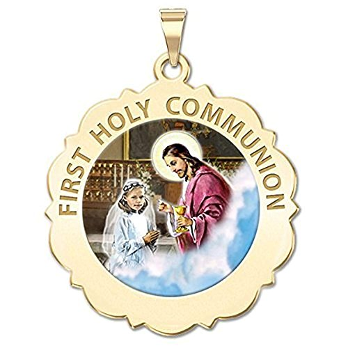 (PicturesOnGold.com First Holy Communion Religious Medal Scalloped Round (Girl) Color 3/4 Inch Solid 14K Yellow Gold with Engraving )