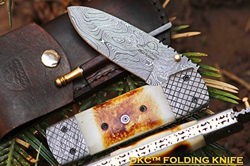 DKC-167-SNOW-BUCK-Damascus-Steel-Blade-Folding-Pocket-Knife-9-Long-4-Blade-5-Folded-13oz-DKC-Knives-Very-Solid-Knife