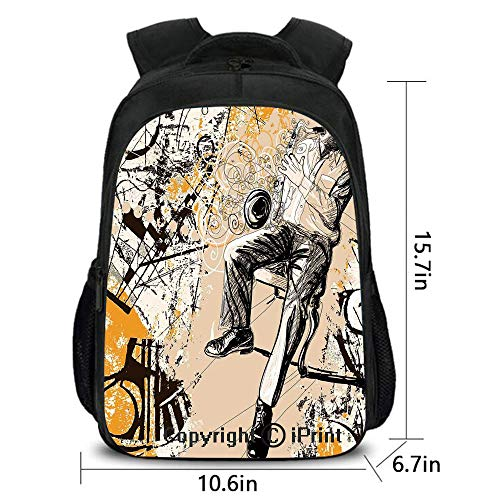 Personality and Trend School Bag,Saxophonist on Murky Backdrop Playing Music Rhythm Groovy Band Artwork,Fashion Hundred Take up,15.7