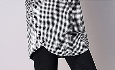 TECREW Women's Casual Long Sleeve Button Down Plaid Shirts Loose Tunic Blouse Top