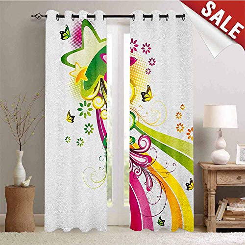 Abstract, Thermal Insulating Blackout Curtain, Vibrant Colored Shooting Stars Butterflies and Swirls with Floral Space, Blackout Draperies for Bedroom, W84 x L84 Inch Hot Pink Yellow -