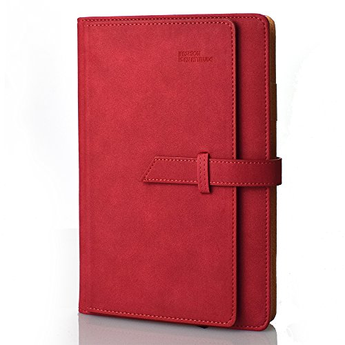 izBuy Notebook Journal Stylish PU Leather Cover Diary Yearly Calendar Credit Card Holder Book Organizer,Refillable,Undated,196 Lined Beige Pages, 8.1X5.7Inches(Red)