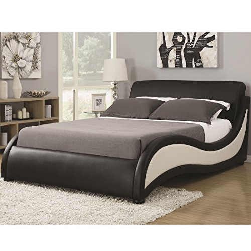 Coaster 300170Q-CO Niguel Queen Upholstered Modern Bed, Dark Brown