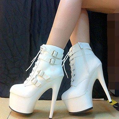 pwne Zapatos De Mujer Polipiel Otoño Invierno Plataforma Moda Vestir Botas Botas Stiletto Talón Hebilla Zipper Lace-Up Blanco Y Negro US5 / EU35 / UK3 / CN34