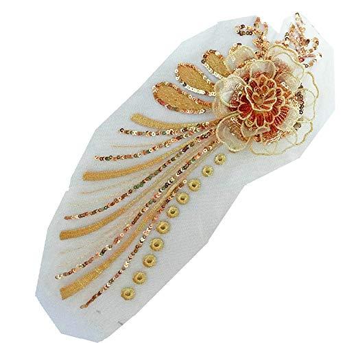 1 Pcs Apricot/Gold/Blue Embroidery Lace Applique Wedding Dress Lace Trim Sew on Floral Patches DIY Lace Motifs (golden)