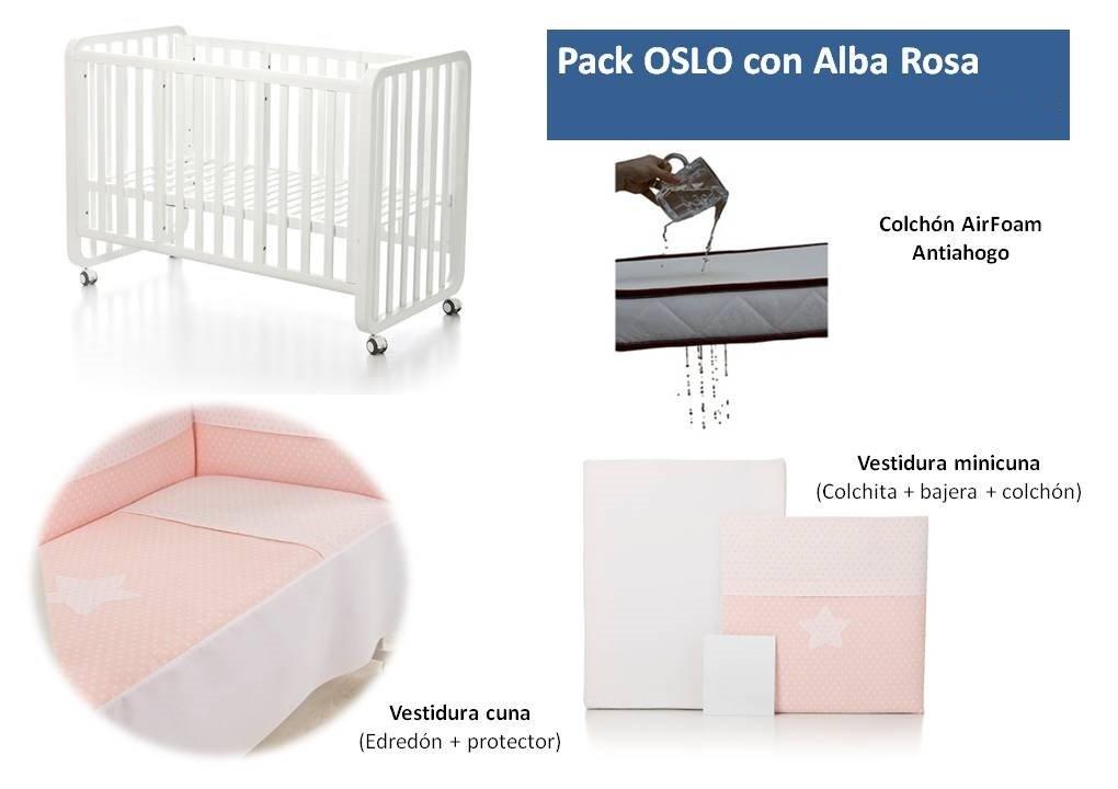 Bolin Bolon Pack Cuna-minicuna colecho OSLO completa ALBA ROSA: Amazon.es: Bebé