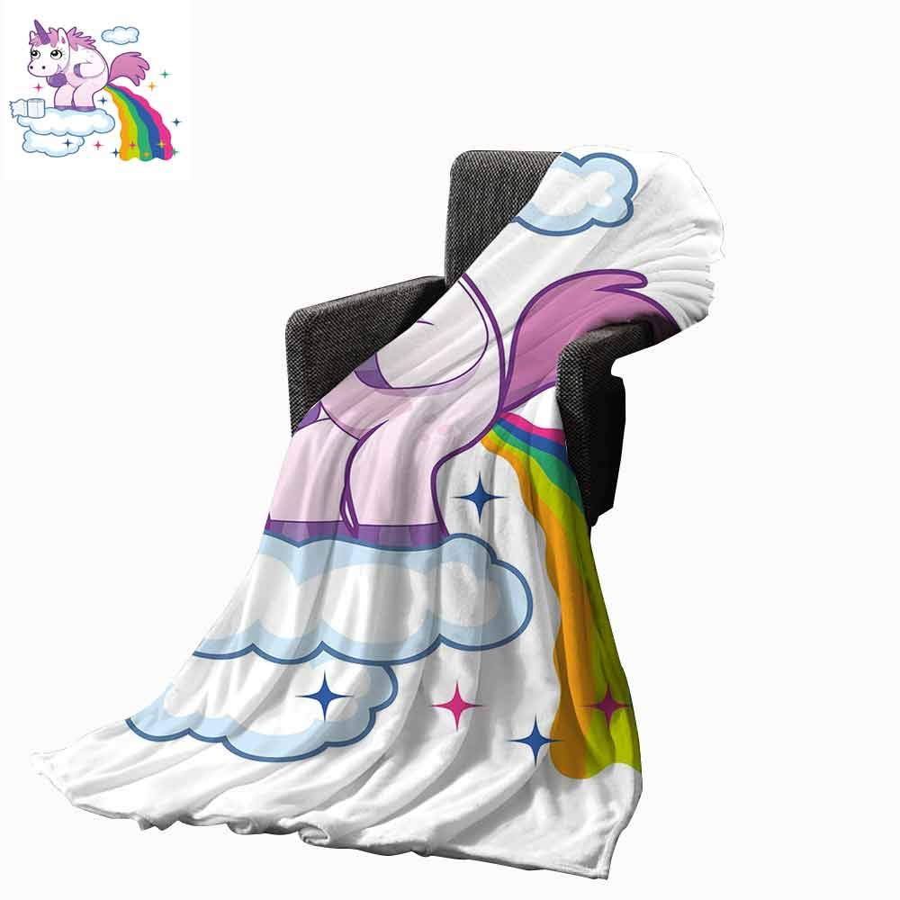 Funny Flannel Fleece Blanket,Unicorn Pooping Rainbow Over Clouds Creative Kids Girls Fairy Tale Fantasy Cartoon Super Soft Warm Fuzzy Cozy Blanket for Bed Sofa(62''x60'')-Multicolor