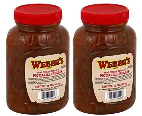 Weber's Hot Green Tomato Piccalilli Relish 16 oz. - 2 Unit Pack