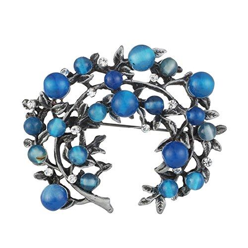 Finance Plan Vintage Women Faux Gem Rhinestone Branch Brooch Pin Scarf Hat Bag Decor Jewelry Blue ()