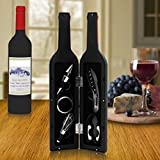 Wine Tool Set Novelty Bottle Shaped Holder Perfect Housewarming Present 5 Piece Corkscrew Set