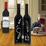 Wine Tool Set Novelty Bottle Shaped Holder Perfect Housewarming Present 5 Piece Corkscrew Set