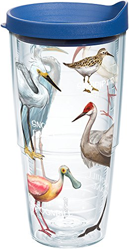 Tervis 1161904 Real Birds of Florida Insulated Tumbler with Wrap and Blue Lid, 24oz, Clear