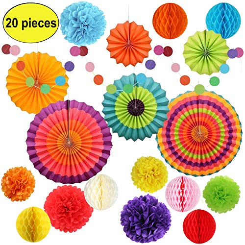 Fiesta Party Decorations Paper Supplies 20 Pcs, Mexican Cinco De Mayo Decoration- Rainbow Folding Paper Fans Pom Poms Circle Dot Garland Honeycomb Ball,for Birthday Baby Shower Carnival Wedding -