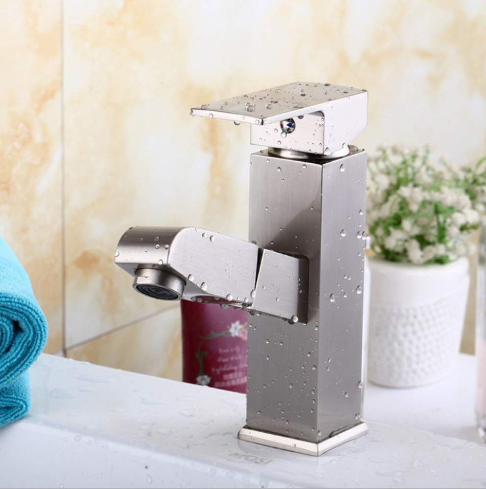 Bathroom Sink Basin Lever Mixer Tap Rectangular Drawing Face Pot Faucet in Toilet Drawing Single Hole Water Washing Face Pot