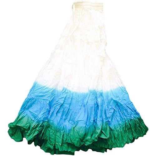 Women's Tie Dye Belly Dance Tribal Skirt 25 Yards Waist Tie Dye 100% Cotton Handmade and Hand Dyed White Blue Green