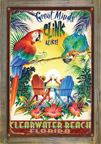 Northwest Art Mall Great Minds Clink Alike Clearwater Beach Florida Rustic Metal Print on Reclaimed Barn Wood by Jim Mazzotta (12