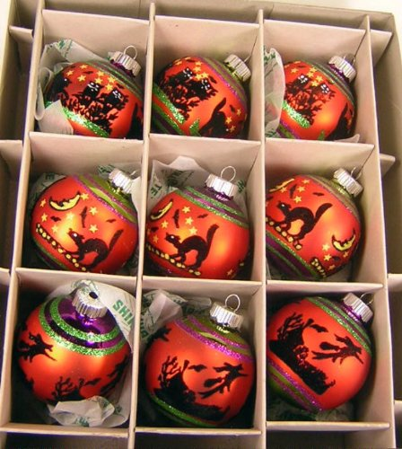 Radko Shiny Brite Halloween Flocked Black Witch & Cats Medium Ball Ornaments, Box of 9 ()
