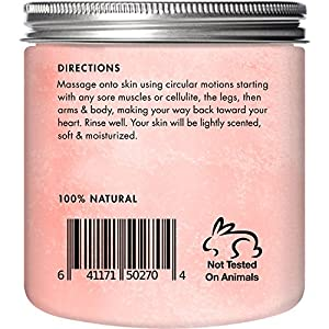 Majestic Pure Himalayan Salt Body Scrub with Lychee Essential Oil, All Natural Scrub to Exfoliate & Moisturize Skin, 12 oz