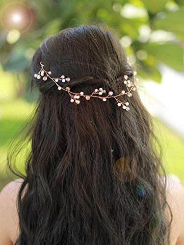 Missgrace Bridal Rose Gold Crystal Hair Vine Wedding Vintage Headpiece Women Leaf Headband Hair Accessory Wedding Hair Jewelry for Festival and Party- Bridal Hair Accessories for Bride