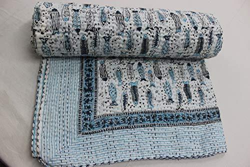 HANDICRAFTOFPINKCITY Kantha Quilt Twin Size Cotton Vintage Throw Blanket Multi Color Fish Design Printed Indian Handmade (Color Multi Design Fish)