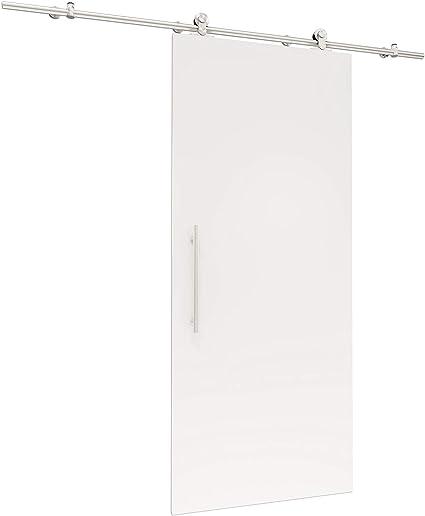 Madera de puerta corredera Blanco Juego completo con puerta corredera de Herraje 775 X 2065 mm puerta de madera & abierto Carril Sistema de puerta corredera: Amazon.es: Hogar