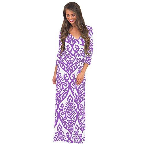 MEI&S Vintage mujer elegante vestido de Prom Larga Noche Maxi vestido de fiesta morado