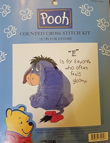 (E is for Eeyore Disney Leisure Arts Pooh Counted Cross Stitch Kit 34010)