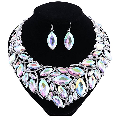 Silver Bead Set - African Beads Jewelry Sets Women Bridal Crystal Statement Necklace Earring Jewelry Sets (Silver AB Color)