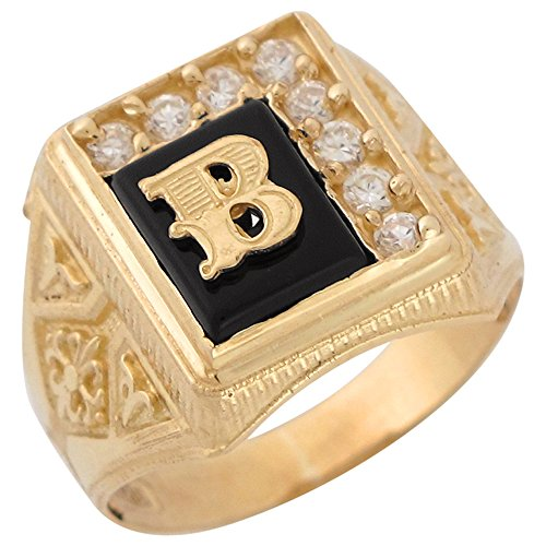 10k Yellow Gold Black Onyx White CZ Accented Mens Classic Letter B Initial Ring -