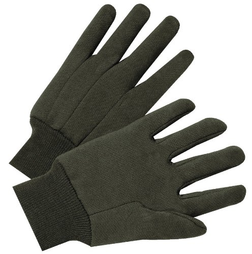 G & F 4408 Heavy Weight 9OZ. Cotton Brown Jersey Work Gloves, Knit Wrist, Sold by Dozen (12-Pairs) - Large