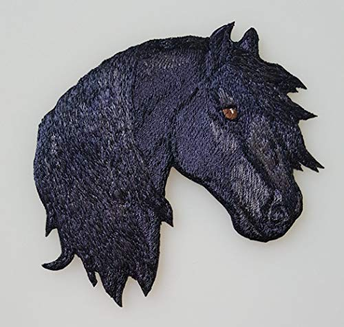 Friesian Horse Head Embroidered Patch (3.9