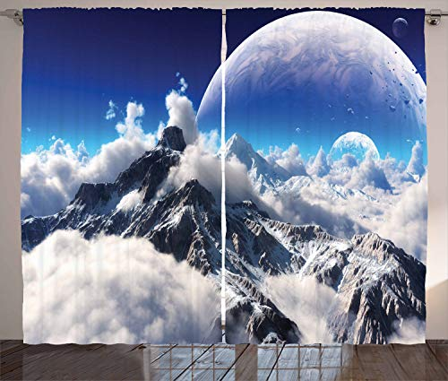 "Ambesonne Fantasy Curtains, Celestial View of Snow Capped Mountains and Alien Planet Print, Living Room Bedroom Window Drapes 2 Panel Set, 108"" X 90"", Navy Blue"